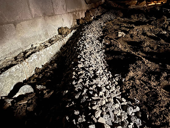 crawl space waterproofing french drain